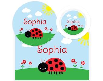 Ladybug Plate, Bowl, Placemat - Personalized Ladybug Dinnerware - Kids Plate - Ladybug