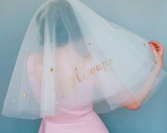Always Harry Potter veil - sparkly Veil - Alternative Bridal Veil  - Harry Potter wedding - Glitter word veil