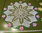 Vintage Large Round Hand Crocheted Doily Table Cover with Pink Flowers 20 Inches
