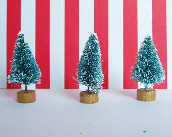 Tiny Bottle Brush Trees 1 1/2 inch Sisel Frosted Evergreen Christmas with Gold Base for Craft