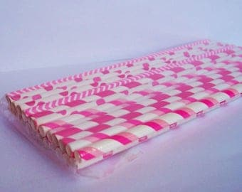 25 Pink and White Stripe Paper Straw Mix with DIY Flag Topper
