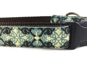 Dog Collar, Antique Blue, 1 inch wide, adjustable, quick release, medium, 13-19 inches