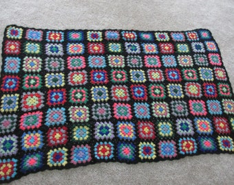 Granny Square Afghan  Bold Rainbow Colors 48 x 74 Inches