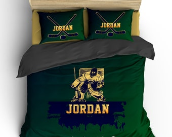 Hockey Goalie Custom Personalized Duvet or Comforter - Hunter Green, Navy & Gold, available Twin, Queen or King Size - Any Color