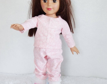 """18 inch doll pajamas & slippers set, 18"""" doll pj's and fur trimmed booties, pink flower doll pajamas, fashion doll's outfit, doll sleepwear"""