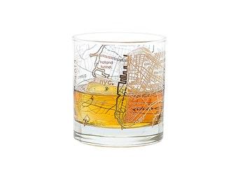 Goldleaf New York City Map Rocks Glass
