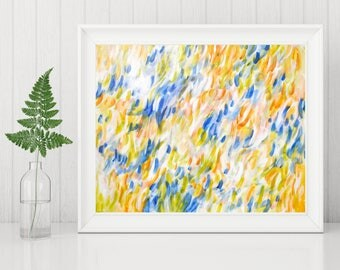 Abstract Printable Art - Abstract Art Print - Yellow and Blue Painting Instant Print - Contemporary Art - Modern Home Decor - 8x10 11x14