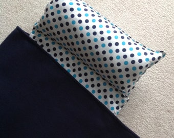 Personalized Nap Mat, Great for daycare, preschool or kindergarten, boy or girl. Navy polka dots