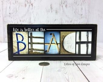 Beach Decor, Beach Signs, Beach Wood Sign, Life is Better at the Beach, Beach House Decor, Beach House Sign Beach House Gift, Blue and White