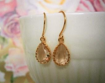 Petite Blush Champagne Earrings, Gold Earrings, Bridesmaid Earrings, Wife, Best Friend, Mom, Sister, Mother, Valentine