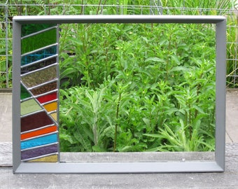 Stained glass mirror - medium, rectangular / window privacy screen