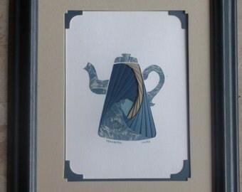 "Framed Iris Folded Coffeepot, Unique Marbled Green Blue Print, Coordinated Solids, 3-D Paper Art, Double Mats, Blue Frame, 11.75""x9.75"""