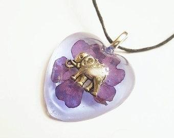 Elephant Charm Real Flower Necklace Bohemian Jewelry  Resin Pendant Nature Earth Animal Blue Purple Heart