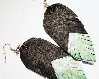 Painted Leather Faux Feather Earrings Large Black Green Metallic Surgical Steel Wires Bohemian Jewelry