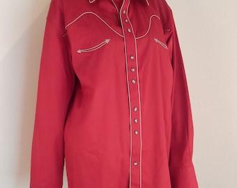 larry mahon western shirt, mens shirt, pearl snap buttons, rockabilly shirt , red western shirt, xl mens shirt