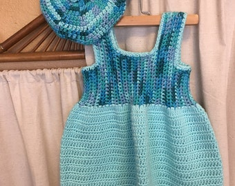 Crochet baby dress Handmade vintage style dress with matching beret