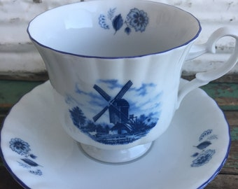 Vintage Teacup Delft Holland Teacup Blue Windmill floral
