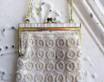 Vintage White Beaded Evening Formal Purse Pearl Lucite Frame