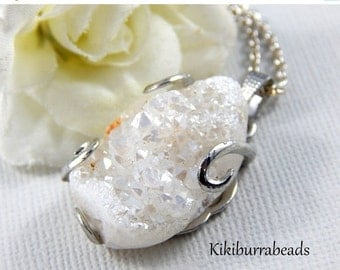 Christmas Sale Druzy Agate Necklace White Druzy Agate Silver Pendant Necklace