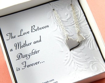 Mothers Day Sale Mother Daughter Necklace, Sterling Silver Heart Necklace, Mother's Necklace, New Mother Gift, Mother to be gift, Mother's D