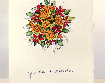 """Kitchen Sink Affirmations """"You Are A Miracle""""  Watercolor Original Strathmore Card 5"""""""" x 6 7/8"""" & Envelope  betrueoriginals"""