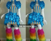 Sample sale Rainbow brite Alice in Wonderland bustle apron and Dramatic Shrug Wrap  Burlesque skirt cosplay  frenchmaid