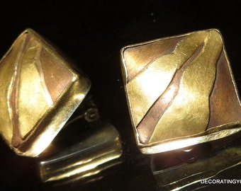 Modernist Brass and  Sterling Silver Earrings Clip On 15g