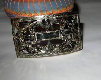 """Mexico Cut Out Belt Buckle Sterling Silver 925 23g accepts 1 1/4"""" wide Belt"""