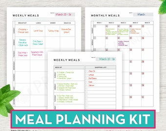 Items similar to Meal Planner Printable Weekly With ...
