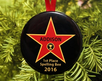 Trophy Star Christmas Ornament - Customized - Spelling Bee - C180