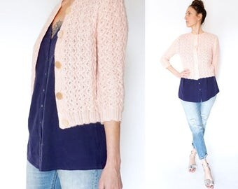 vintage 50s pale PINK cardigan sweater S-M