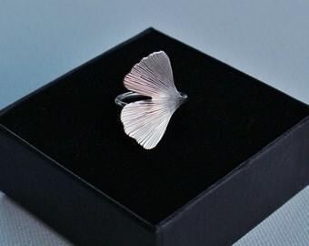 Ginkgo ring in sterling silver