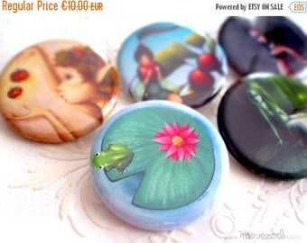 Spring cleaning sale Pick 5 illustrated pinbacks buttons - 1.25""