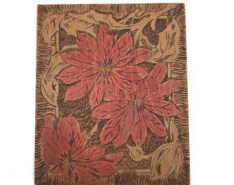 """Antique 3D Flemish Art #863 Wood Pyrography Plaque Poinsettia Flowers 7.5 x 9"""""""