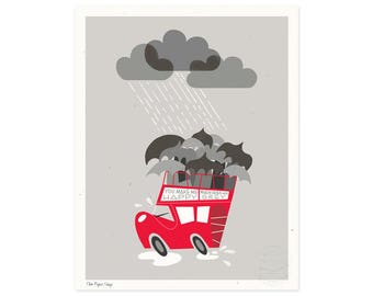 When Skies are Grey Illustrated Art Print