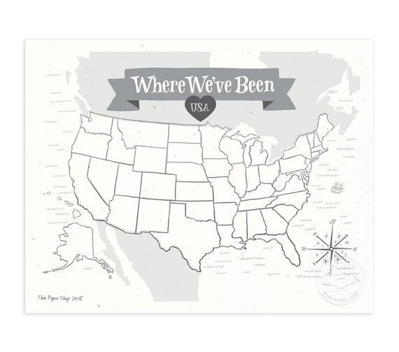 Where We've Been: USA Map Illustrated Art Print