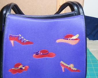 Rare, Red Hat Society Purple Satin Bag with Red Hats and Shoes Embroidered