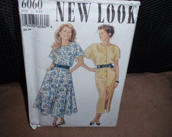 New Look 6060 Front Button Down Dress Midi Length Flared or Slim Skirt  Size 8-18   New - Uncut