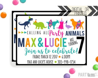 Party Animals Invitation | Digital or Printed | Boy Girl Twins Party | Party Animal Invitation | Twins Invitation | Boy Girl Twin Birthday