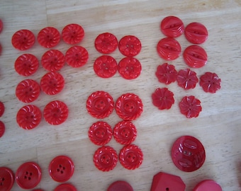 Vintage Assorted Red Buttons & Buckles 83 pc.