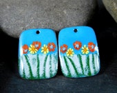 Aqua Blue Orange Yellow Green Enamel Earring Charms, Colorful Floral Enameled Copper Jewelry Components, Earring Beads Sgraffito Rectangle