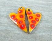 Orange Yellow Red Funky Heart Enamel Earring Charms, Floral Earring Beads, Enamel Pendant Pair Enameled Copper, Valentine's Day Jewelry
