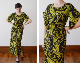 60s/70s Green and Black Maxi Dress with Wrap Bodice - M