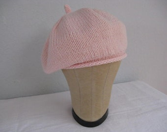 Pink Angora and Merino Wool Beret. Accessories for Women. Hand Knit Hat.