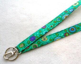 Colorful Kaffe Fassett Designer Fabric Lanyard Breakaway Lanyard ID Badge Holder Clip Key Ring Fob Paperweight Emerald Green Millifiore