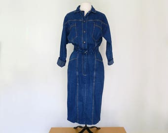70s denim fitted shirt dress