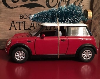 Red Mini Cooper Carrying Christmas Tree Ornament