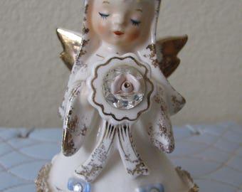 Vintage Lefton JUNE Bride Birthday Angel with Rhinestones and Spaghetti Trim Figurine 1987J