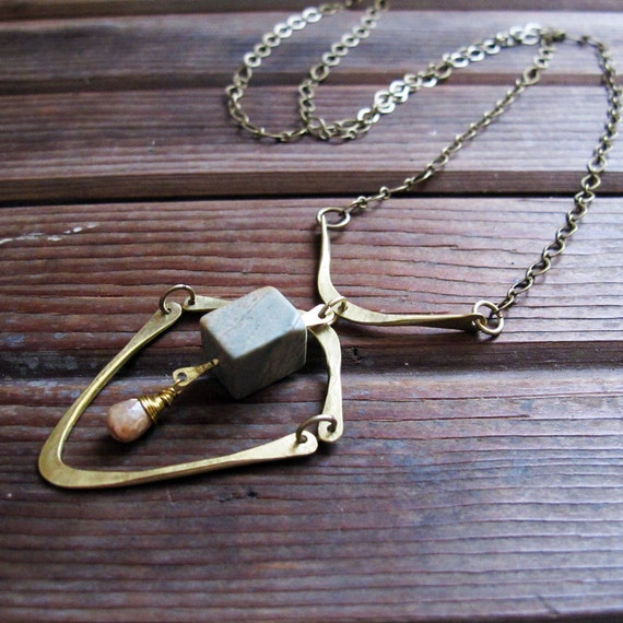 Connections Necklace - Brass Jasper Cubes Necklace - Green and Cream Brass Necklace - Artisan Tangleweeds Jewelry