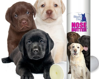 Labrador Retriever ORIGINAL NOSE BUTTER® All Natural Handcrafted Balm for Dry Crusty Dog Noses .50 oz Tube with Labs on Label in Gift Bag